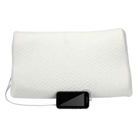 1 Voice Memory-Foam Pillow with Built-In Speakers in White - Closeouts
