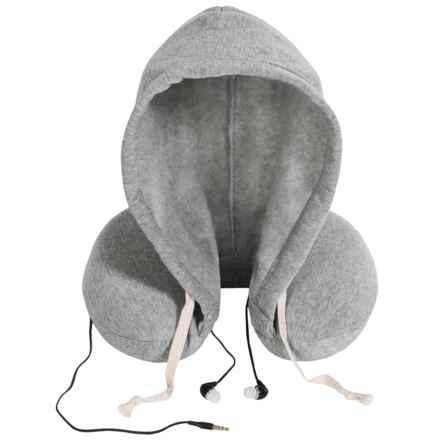 1 Voice Memory-Foam Travel Neck Pillow - Fleece Hood, Built-In Ear Buds in Grey - Closeouts
