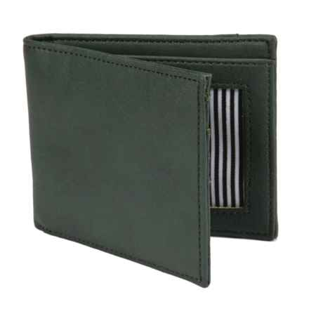 1 Voice Vault RFID Bi-Fold Wallet - Leather in Dark Green - Closeouts