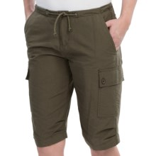 10,000 Feet Above Sea Level Long Cargo Shorts (For Women) in Olive - Closeouts