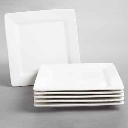 "10 Strawberry Street Nova Square Dinner Plates - 9-3/4"", Set of 6, Porcelain in White - Closeouts"