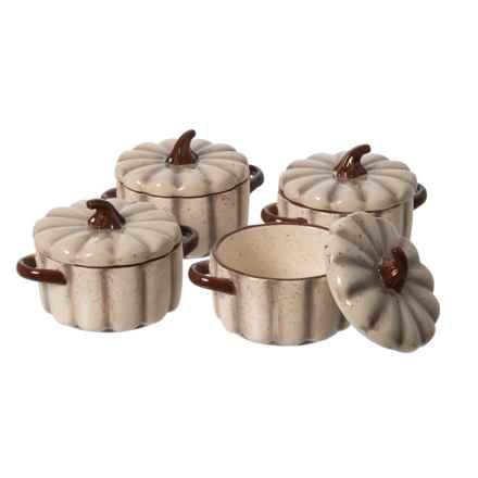 10 Strawberry Street Pumpkin Mini Casserole set - 4-Pack in Cream - Closeouts