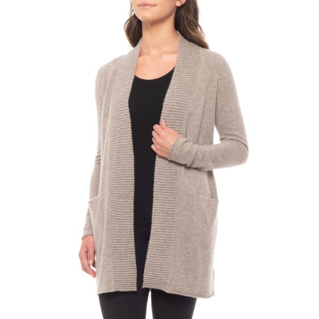 Image of 100% Cashmere Cardigan Sweater with Textured Placket - Long Sleeve (For Women)