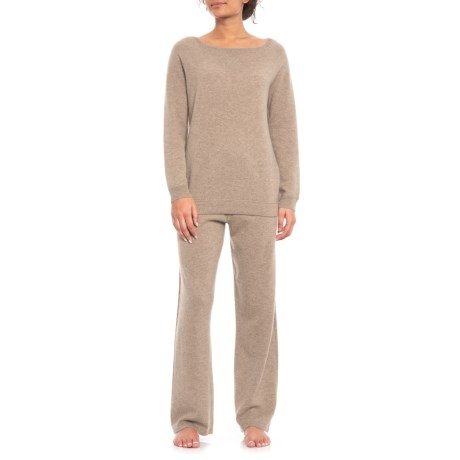 Image of 100% Cashmere Cool Down Lounge Set - 2-Piece, Long Sleeve (For Women)