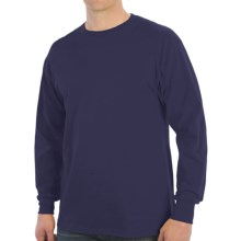100% Cotton Ribbed Cuff Crew T-Shirt - Long Sleeve (For Men) in Navy - 2nds