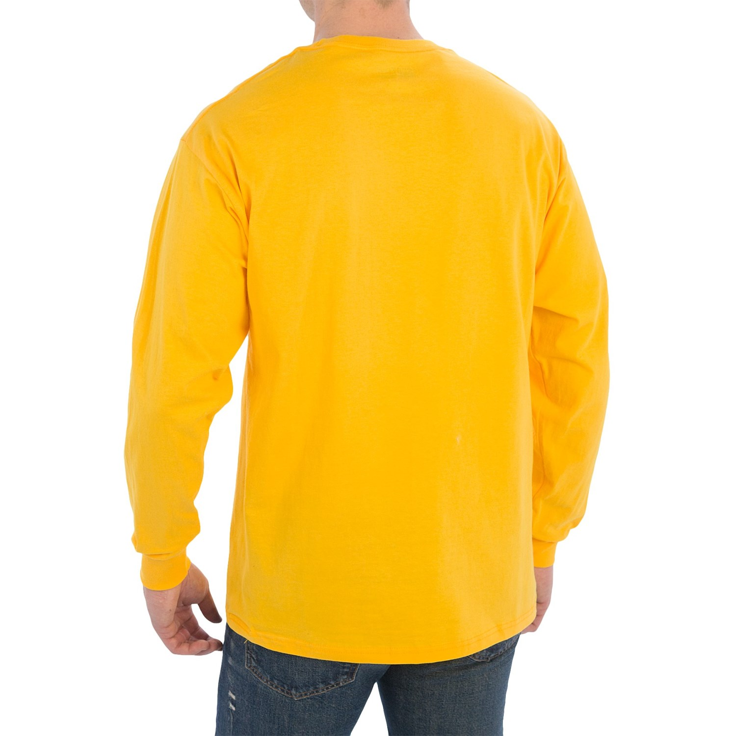 100 cotton ribbed cuff crew t shirt for men save 44 for Ribbed long sleeve shirt