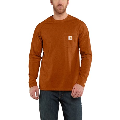 Image of 100393 Force(R) Cotton Delmont T-Shirt - Long Sleeve (For Big and Tall Men) - UMBER HEATHER (3XL )