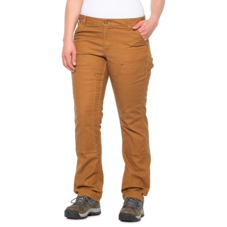 Image of 100723 Double-Front Canvas Dungarees - Slim Fit, Factory Seconds (For Women) - CARHARTT BROWN (16 )