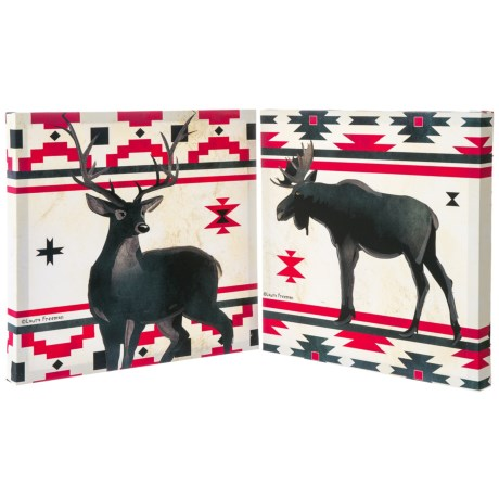 Image of 16x16? Navajo Lodge Deer and Moose Printed Canvas - Set of 2