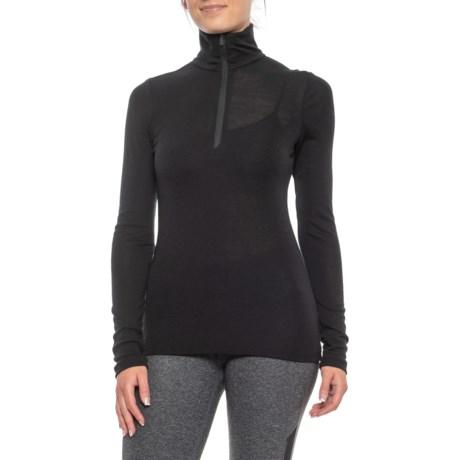 175 BodyFit Everyday Base Layer Top - Merino Wool, Zip Neck, Long Sleeve (For Women) - BLACK (S ) thumbnail
