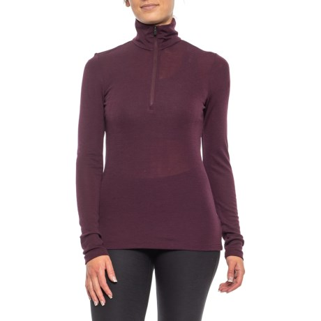 175 BodyFit Everyday Base Layer Top - Merino Wool, Zip Neck, Long Sleeve (For Women) - VELVET (S ) thumbnail