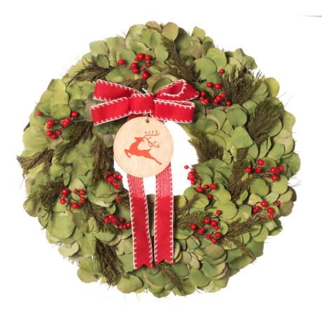 Image of 18? Preserved Salal, Cedar and Red Berry Wreath