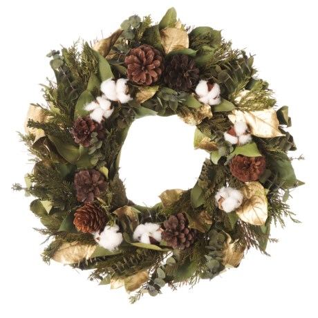 Image of 18? Preserved Salal, Eucalyptus, Cedar, Pine Cones and Cotton Bracket Wreath