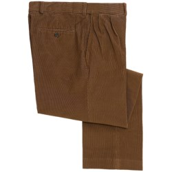 18-Wale Corduroy Comfort Waist Pants - Pleated (For Men) in Umber