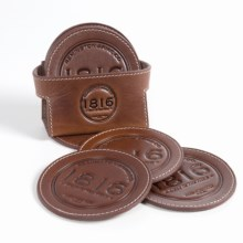 1816 by Remington Leather Coasters - Set of 6 in Brown - Closeouts