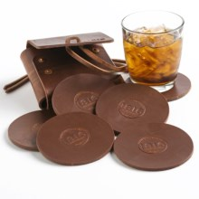 1816 by Remington Leather Coasters - Set of 6 in Scotch - Closeouts
