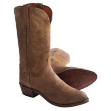 1883 by Lucchese Calfskin Western Boots - R-Toe (For Men) in Diva/Olive Waxy Commanche - Closeouts