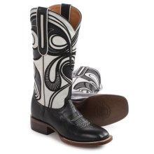 1883 by Lucchese Hypnotic Swirl Cowboy Boots - Leather, W-Toe (For Women) in Black/Aisha Bone - Closeouts