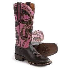 1883 by Lucchese Hypnotic Swirl Cowboy Boots - Leather, W-Toe (For Women) in Espresso/Rose - Closeouts