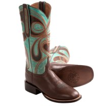1883 by Lucchese Hypnotic Swirl Cowboy Boots - Leather, W-Toe (For Women) in Tan/Turquoise - Closeouts