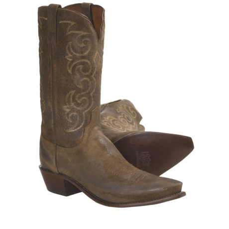1883 by Lucchese Wax Comanche Cowboy Boots - Leather, S54 Toe (For Men) in Olive Burnished
