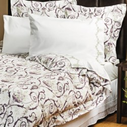 1891 by Sferra Adara Sateen Duvet Set - 300 TC, Full-Queen in Eggplant