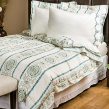 1891 by Sferra Delany Sateen Duvet Set - Full-Queen, 300 TC in Teal - Overstock