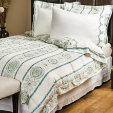 1891 by Sferra Delany Sateen Duvet Set - King, 300 TC in Teal - Overstock