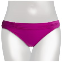 2 Bamboo High Waist Shirred Bikini Bottoms (For Women) in Fuschia - Closeouts