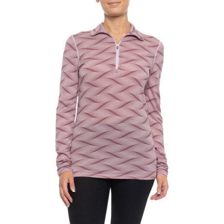 200 Oasis Curve Base Layer Top - Merino Wool, Zip Neck, Long Sleeve (For Women) - BLUSH HEATHER/VELVET (XL ) thumbnail