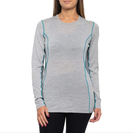 200 Oasis Deluxe Crewe Base Layer Top - Merino Wool, Long Sleeve (For Women) - BLIZZARD HEATHER/GRITSTONE HEATHER/ARCTIC TEAL (M ) thumbnail