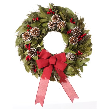 Image of 22? Natural Salal, Preserved Cedar, Myrtle, Pine Cones and Red Berry Wreath