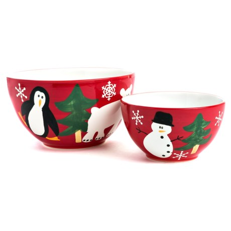 222 Fifth Holiday Earthenware Mixing Bowls - Set of 2 in Multi