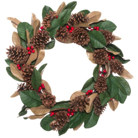 Image of 24? Magnolia Leaves, Berry and Pinecone Wreath