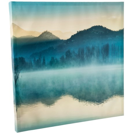 Image of 24x24? Quiet Morning Mountain Lake View Square Wall Art