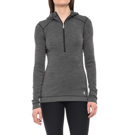 250 Hooded Base Layer Top - Merino Wool, Zip Neck, Long Sleeve (For Women) thumbnail