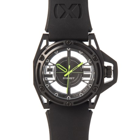 2(x)ist NYC Collection Stainless Steel Watch - Silicone Strap in Jet Black/Toxic Green