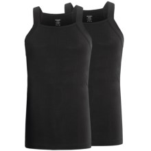 2(x)ist Ribbed Square-Cut Tank Tops - 2-Pack (For Men) in Black - Closeouts