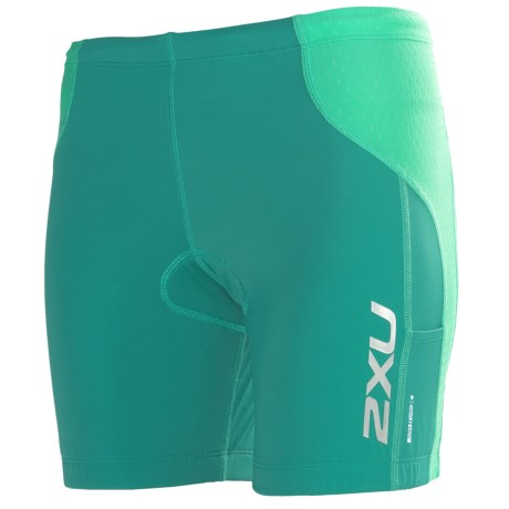 2XU Comp Tri Shorts (For Women) in Bright Emerald/Aquamarine