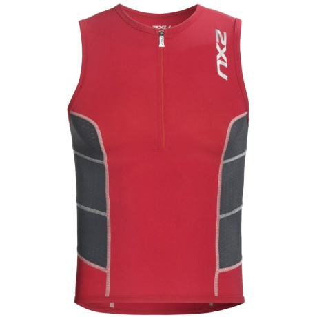 2XU Comp Tri Singlet Top (For Men) in Venere Red/Charcoal