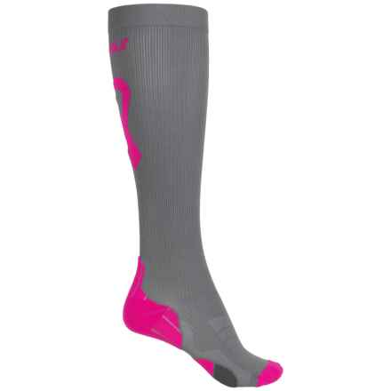 2XU Compression Socks for Recovery - Over the Calf (For Women) in Grey/Cerise Pink - Closeouts