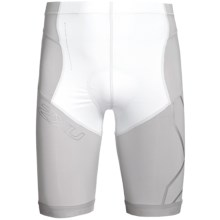 2XU Compression Tri Shorts (For Men) in White/Grey - Closeouts