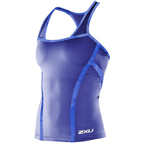2XU Femme Tri Singlet Top - Built-In Shelf Bra, Racerback (For Women) in Midnight Blue/Teal
