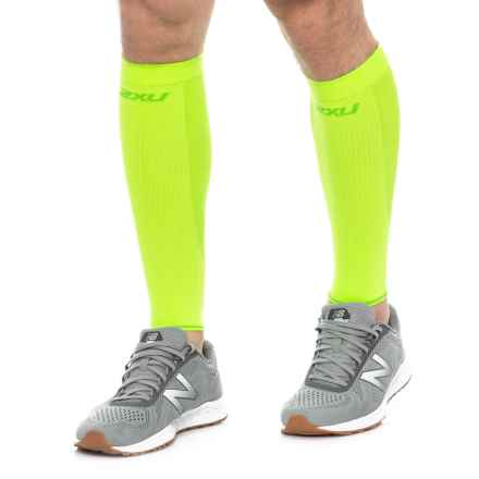 2XU High-Performance Run Calf Sleeves - UPF 50+ (For Men and Women) in Flag/Green - Closeouts
