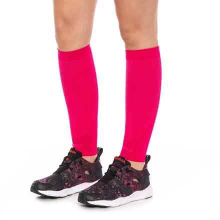 2XU High-Performance Run Calf Sleeves - UPF 50+ (For Men and Women) in Hot Pink/Hot Pink - Closeouts