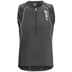 2XU Long Distance Tri Singlet Tank Top - Zip Neck (For Men) in Indigo/Steel