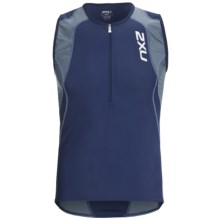 2XU Long Distance Tri Singlet Tank Top - Zip Neck (For Men) in Indigo/Steel - Closeouts