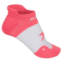 2XU No-Show Socks - Below the Ankle (For Women) in Coral Rose/White - Closeouts