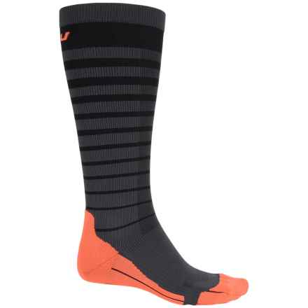 2XU Striped Run Compression Socks - Over the Calf (For Men) in Black/Sunburst Orange - Closeouts