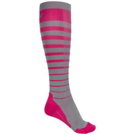 2XU Striped Run Compression Socks - Over the Calf (For Women) in Cherry Pink/Grey - Closeouts